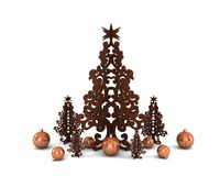 Wooden Christmas trees with Christmas balls isolat Royalty Free Stock Photography