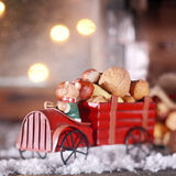 Wooden Christmas truck with nuts Stock Photo