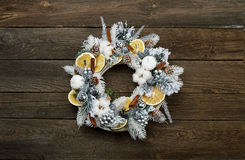 Wooden Christmas wreath. Good copy space. Wooden Christmas wreath. On wooden background. Good copy space Stock Images