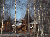 Wooden church. The wooden church located in a birchwood. The city of Novouralsk. Sverdlovsk area. Winter Stock Photography