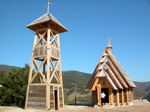 Wooden church. Is placed in village Mecavnik, Mokra gora, Serbia. Whole ethno village was built by famous film director, Emir Kusturica royalty free stock photography