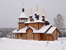 Wooden church. The wooden church brought by a snow Royalty Free Stock Image