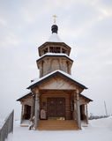 The wooden church. The wooden church brought by a snow Stock Photo