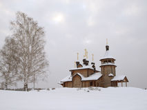 Wooden church. The wooden church brought by a snow Royalty Free Stock Images