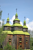 Wooden church. In Kiev, Ukraine. Open-air museum Pirogovo royalty free stock photography