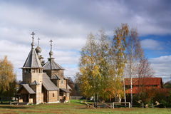 Wooden church of 18 century. Very rare example of wood church of XVIII century. Very interesting craftsmanship of Russian wood master. Museum of wood Stock Photo