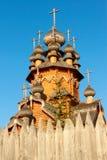Wooden church. Skeet All Saints. Wooden church in the area Svyatogorsk. Ukraine, Donetsk region Royalty Free Stock Photos