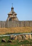 Wooden church. In Zaporizhian Sich, Ukraine Royalty Free Stock Photography