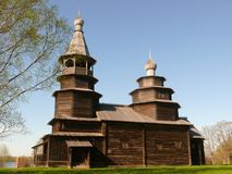 Wooden church. Near Veliky Novgorod in Russia Royalty Free Stock Image