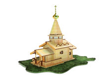Wooden church. Invented image of ancient Russian wooden church Royalty Free Stock Image