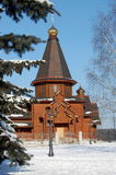 Wooden church. Catholic wooden church in winter Stock Photos