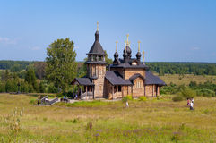 Wooden church of All Saints of Siberia on the Tura river. Stock Photo