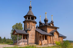 Wooden church of All Saints of Siberia on the Tura river. Stock Images