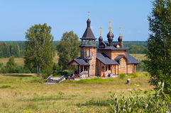 Wooden church of All Saints of Siberia on the Tura river. Royalty Free Stock Images