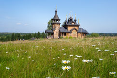 Wooden church of All Saints of Siberia on the Tura river. Stock Image