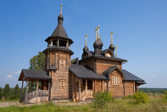Wooden church of All Saints of Siberia on the Tura river. Royalty Free Stock Image