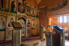 Wooden church of All Saints of Siberia on the Tura river. Royalty Free Stock Photo