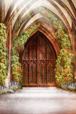 Wooden Church Ancient Door. Antique Retro Archway and Doorway Royalty Free Stock Images