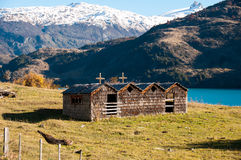 Wooden church in Bahia exploradores Carretera Austral, Highway 7 stock image