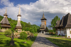 Wooden church of Barsana monastery. Maramures region Stock Photography