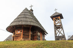 Wooden church. And bell tower Royalty Free Stock Image