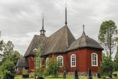 Wooden church. In central Finland stock photography