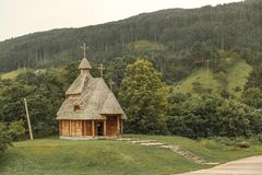 Wooden church on a cloudy day Stock Photo