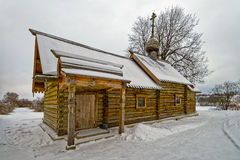 Wooden church covered snow Stock Image