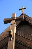 Wooden Church Cross. Norwegian wooden church cross in Oslo stock images