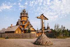 The wooden church and the cross Stock Image