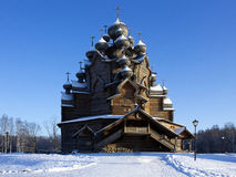 Wooden Church. The Church with a wooden domes in the Bogoslovka stock photo