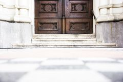 Wooden church door Royalty Free Stock Photography