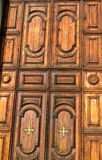 Wooden church door Venice Stock Images