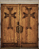 Wooden Church Doors. Wooden Church Double Doors with Crosses Royalty Free Stock Photo