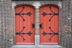 Wooden church doors stock image