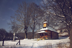 Wooden church in the evening sun Royalty Free Stock Image