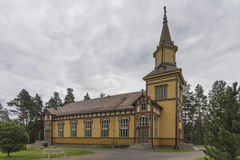 Wooden church. In Finnish countryside royalty free stock image