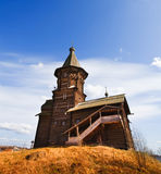 Wooden church on hill Royalty Free Stock Images