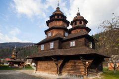 Wooden church of Holy Prophet Elijah Ilinskaya , village Dora, near Yaremche - cultural monument, Ukraine. Carpathians. Royalty Free Stock Photography