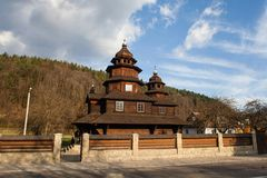 Wooden church of Holy Prophet Elijah Ilinskaya , village Dora, near Yaremche - cultural monument, Ukraine. Carpathians. Royalty Free Stock Photo