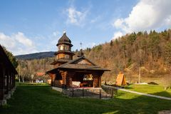 wooden church of Holy Prophet Elijah & x28; Ilinskaya& x29; , villwooden church in Carpathian mountains Stock Image
