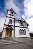 Wooden church in Husavik Royalty Free Stock Photos