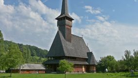 The wooden church in Ieud, Romania stock footage