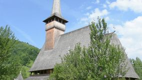 The wooden church in Ieud, Romania stock video