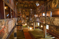 Wooden church. Interior of a wooden church Royalty Free Stock Images