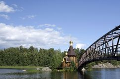 The wooden church on the island Stock Photography