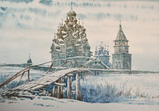 Wooden church in Kizhi. Russia. Watercolor Royalty Free Stock Images