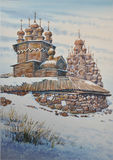 Wooden church in Kizhi. Russia. Watercolor Stock Images