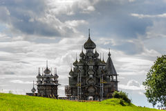 Wooden church at Kizhi under reconstruction Royalty Free Stock Photography
