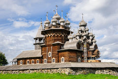 Wooden church at Kizhi under reconstruction Stock Photography